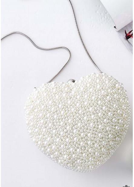 Handgemachte Herzförmige Perle Tasche Niedliche Handtaschen T901556075514