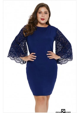 Lace Flare Sleeve Round Neck Sexy Party Bodycon Plus Size Dress T901554360867