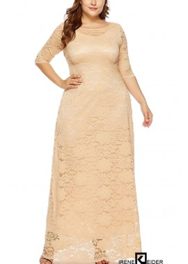 Half Sleeve Pocket Casual Plus Size Lace Dress T901554279180