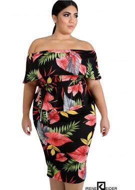 PoBlack Floral Off Shoulder Ruffles Peplum Sexy Plus Size Bodycon Dress T901554101621
