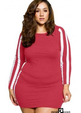 Contrast Stripe Long Sleeve Casual Plus Size Mini Bodycon Dress T901554369456
