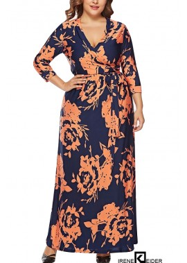 Floral Print V Neck Wrap Tied Casual Maxi Plus Size Dress T901553763452