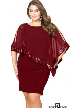 Sequins Cape Overlay Slit Casual Plus Size Bodycon Dress T901554363527