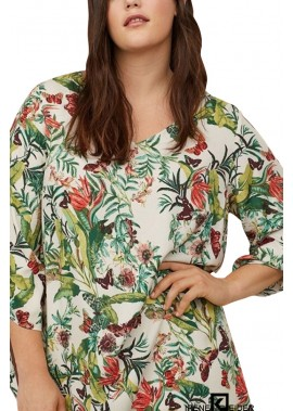 Green Tropical Print V Neck Tied Casual Plus Size Dress T901554368956
