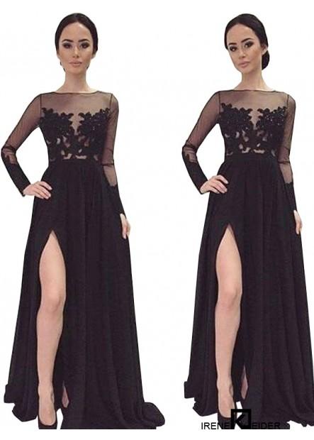 langes kleid mit spitzenapplikationen und Ärmeln