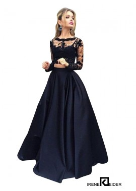 Irenekleider Lace Black Long Prom Evening Dress