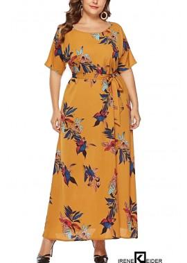 Leaf Print Tied Casual Maxi Plus Size Dress T901554104914