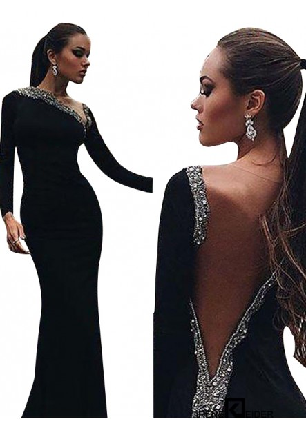 Irenekleider Black Mermaid Long Evening Dress