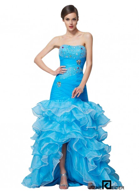 Irenekleider High Low Mermaid Long Prom Evening Dress