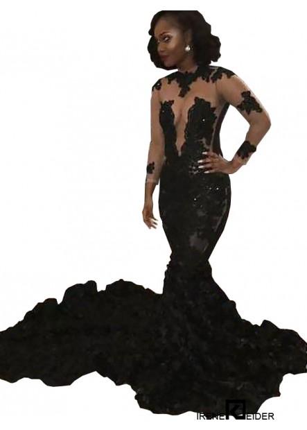 Irenekleider Black Mermaid Long Prom Evening Dress