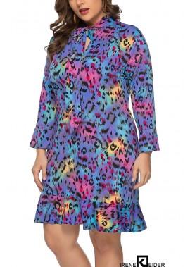 Leopard Tied Neck Long Sleeve Ruffles Casual Plus Size Dress T901554107527