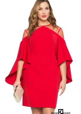 Flare Sleeve Mesh Sexy Bodycon Plus Size Dress T901554368547