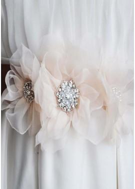Einzigartige Mode Handgefertigte Blume Hochzeit Bekleidungszubehör Schärpen T901556002062