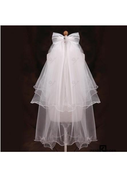 Veil children's wedding princess wedding dress comb double-layer handmade bow wedding accessories T901554355688